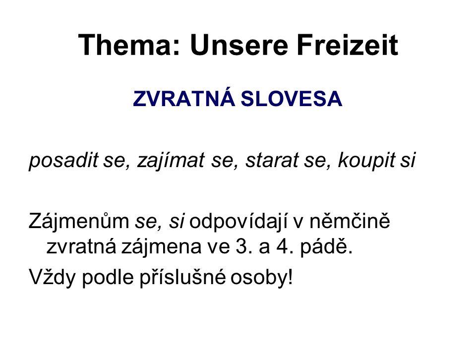Thema: Unsere Freizeit ZVRATNÁ SLOVESA posadit se, zajímat se, starat se, koupit si Zájmenům se, si odpovídají v němčině zvratná zájmena ve 3. a 4. pá