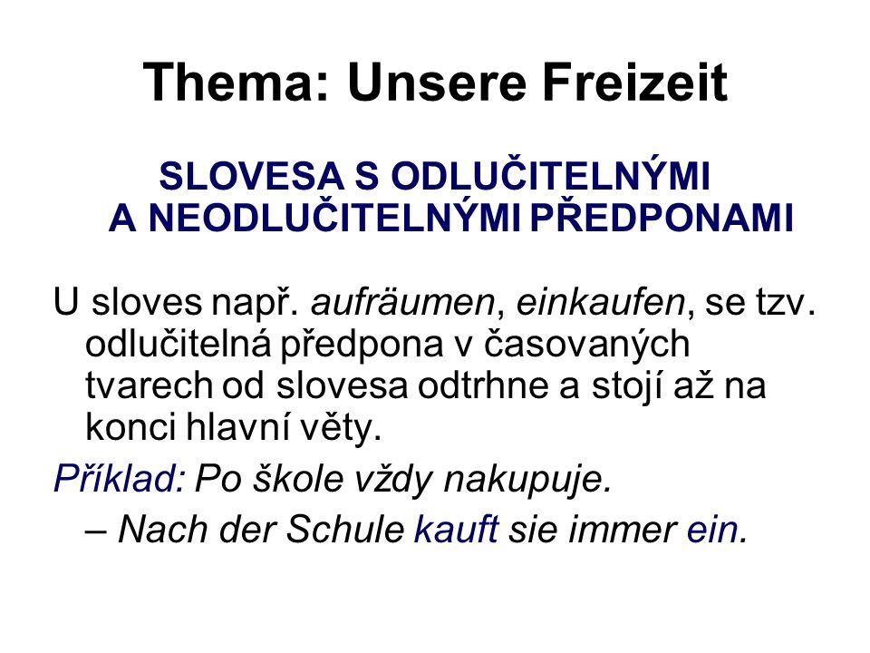 Thema: Unsere Freizeit SLOVESA S ODLUČITELNÝMI A NEODLUČITELNÝMI PŘEDPONAMI U sloves např.