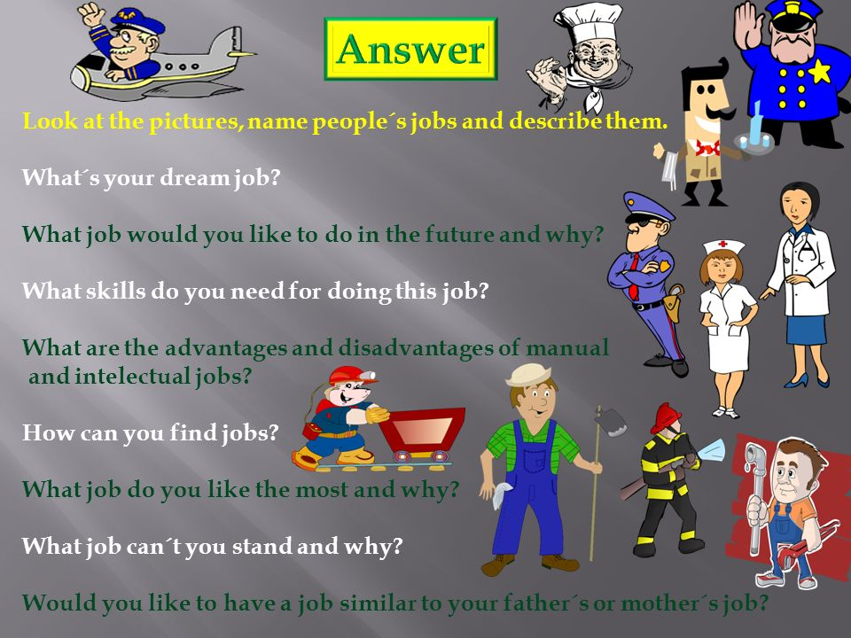 Look at the pictures, name people´s jobs and describe them.