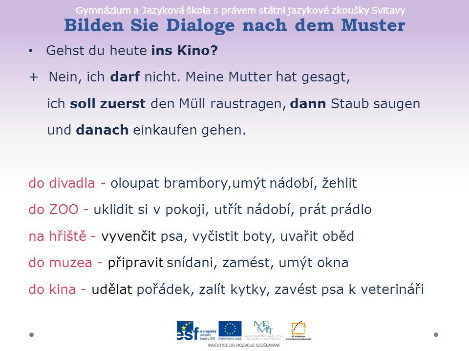 Gymnázium a Jazyková škola s právem státní jazykové zkoušky Svitavy Bilden Sie Dialoge nach dem Muster Gehst du heute ins Kino.