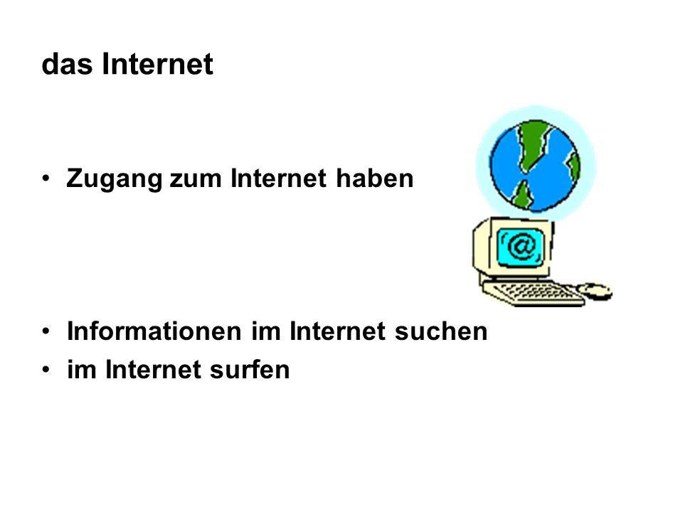 das Internet Zugang zum Internet haben Informationen im Internet suchen im Internet surfen