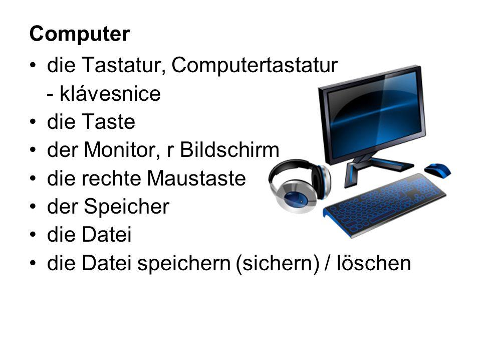 Computer die Tastatur, Computertastatur - klávesnice die Taste der Monitor, r Bildschirm die rechte Maustaste der Speicher die Datei die Datei speichern (sichern) / löschen