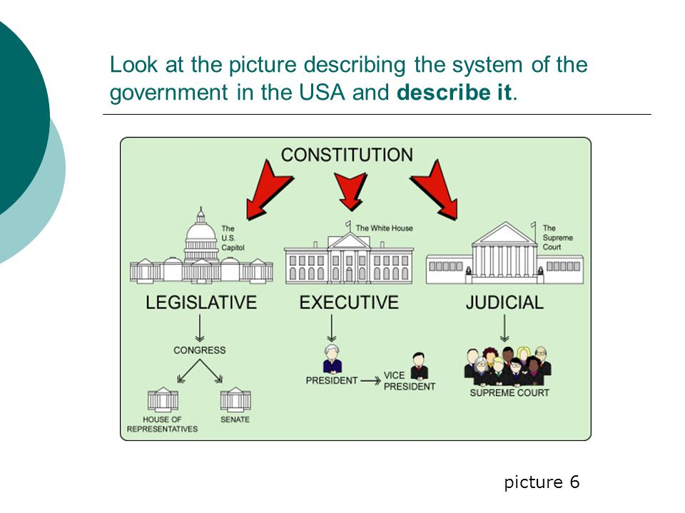 Look at the picture describing the system of the government in the USA and describe it. picture 6