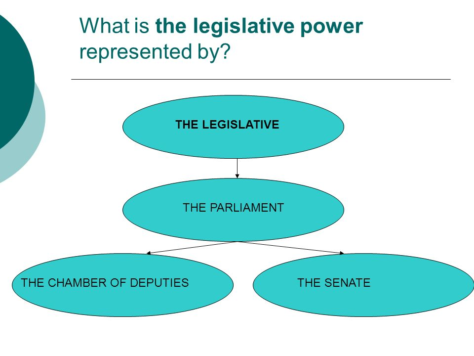 THE LEGISLATIVE What is the legislative power represented by.