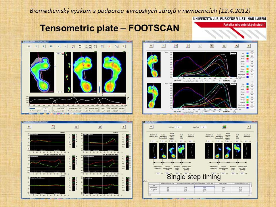 Biomedicínský výzkum s podporou evropských zdrojů v nemocnicích (12.4.2012) Tensometric plate – FOOTSCAN Single step timing