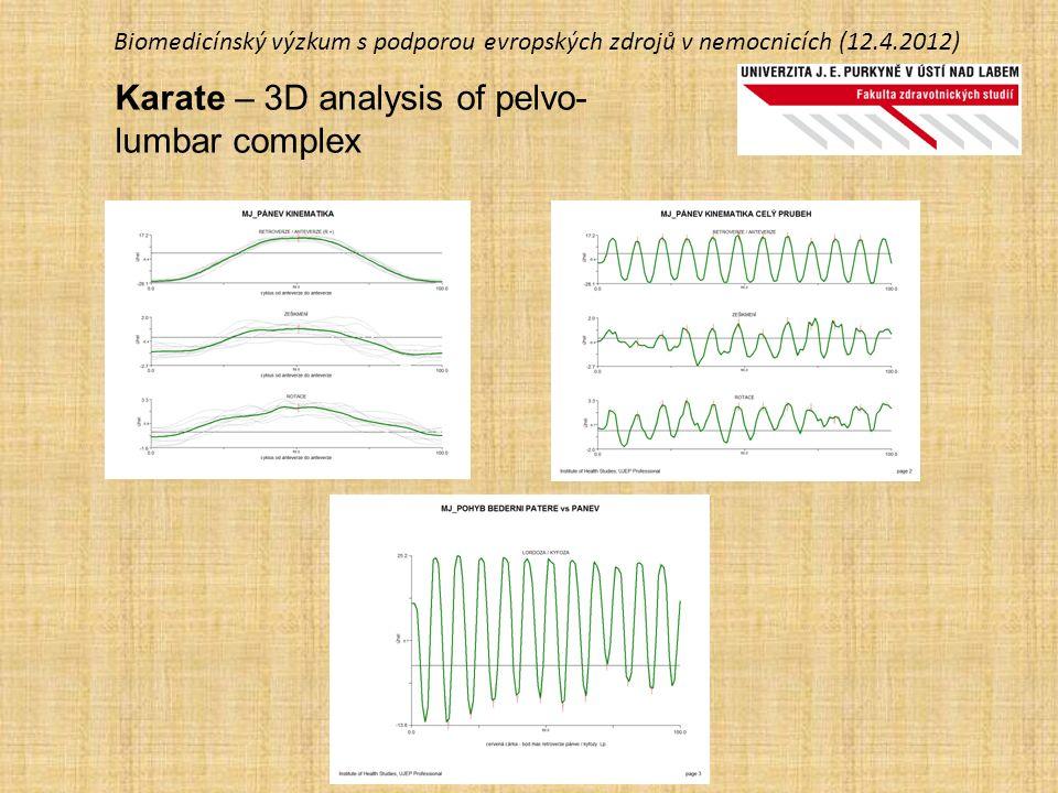 Biomedicínský výzkum s podporou evropských zdrojů v nemocnicích (12.4.2012) Karate – 3D analysis of pelvo- lumbar complex