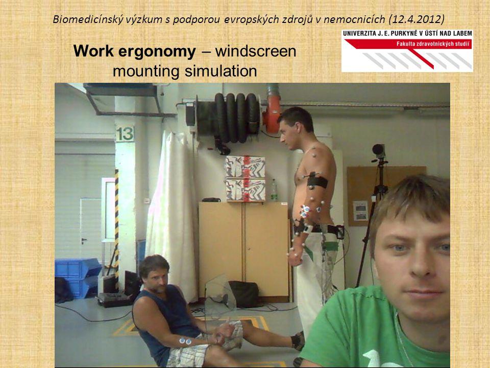 Biomedicínský výzkum s podporou evropských zdrojů v nemocnicích (12.4.2012) Work ergonomy – windscreen mounting simulation