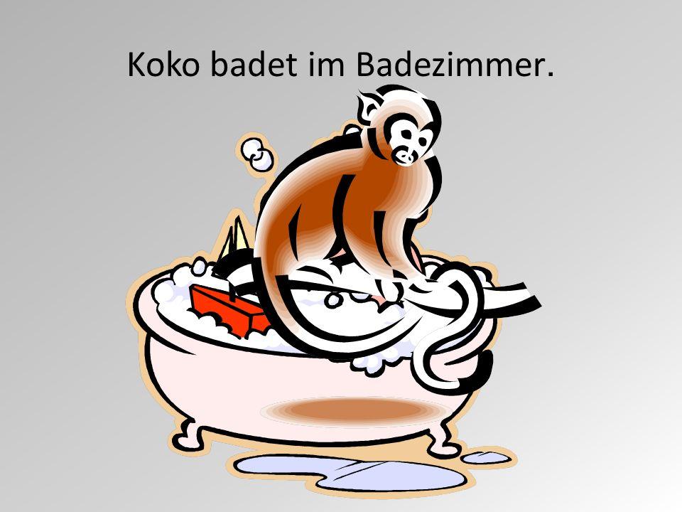 Koko badet im Badezimmer.