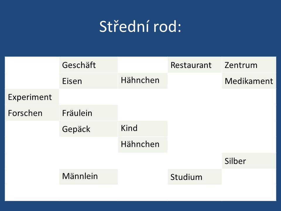 Střední rod: GeschäftRestaurantZentrum Eisen Hähnchen Medikament Experiment ForschenFräulein Gepäck Kind Hähnchen Silber Männlein Studium