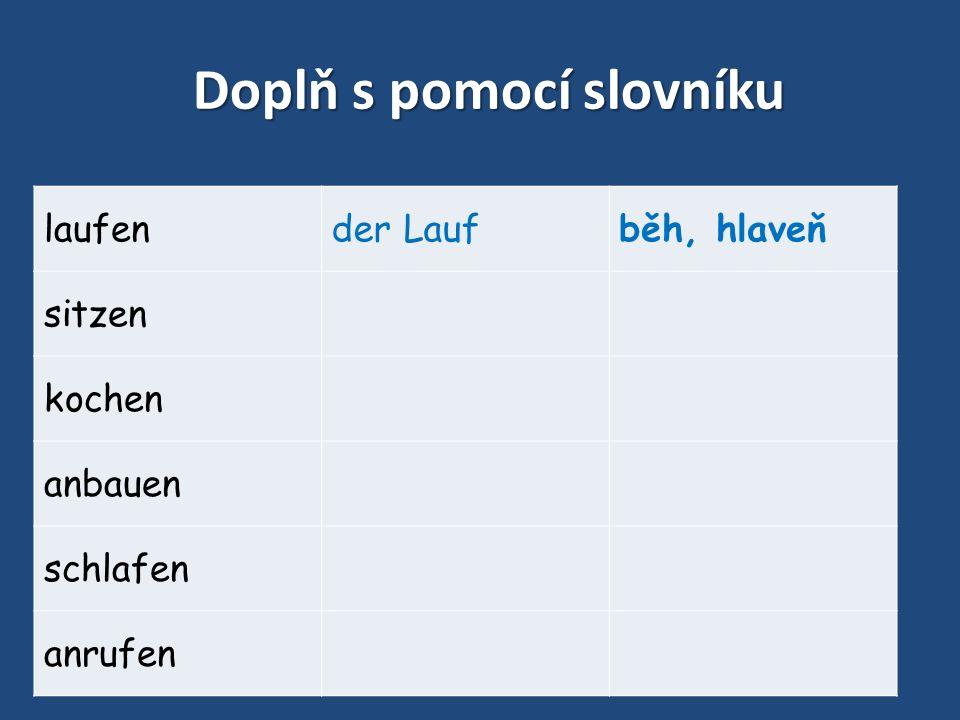Doplň s pomocí slovníku laufender Laufběh, hlaveň sitzen kochen anbauen schlafen anrufen