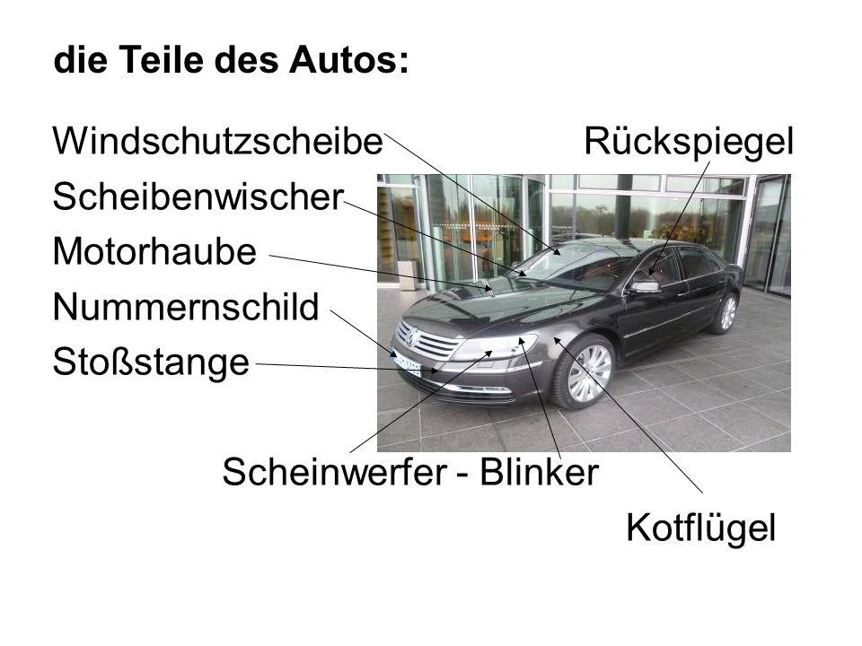 Windschutzscheibe Rückspiegel Scheibenwischer Motorhaube Nummernschild Stoßstange Scheinwerfer - Blinker Kotflügel die Teile des Autos:
