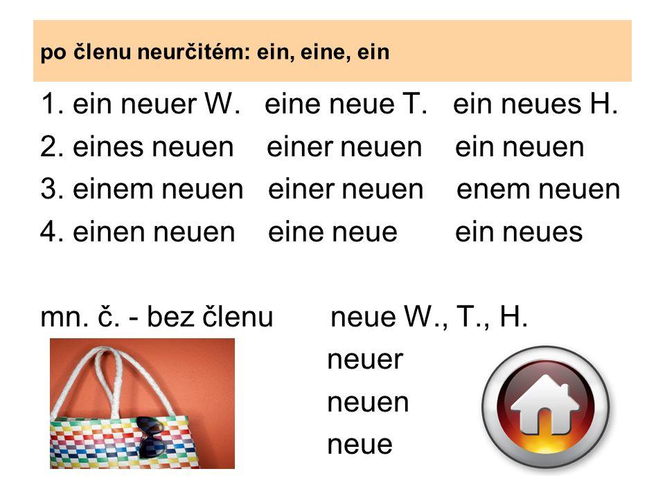 bez členu: 1.neuer W. neue T. neues H. 2. neuen W-s neuer neuen H-es 3.