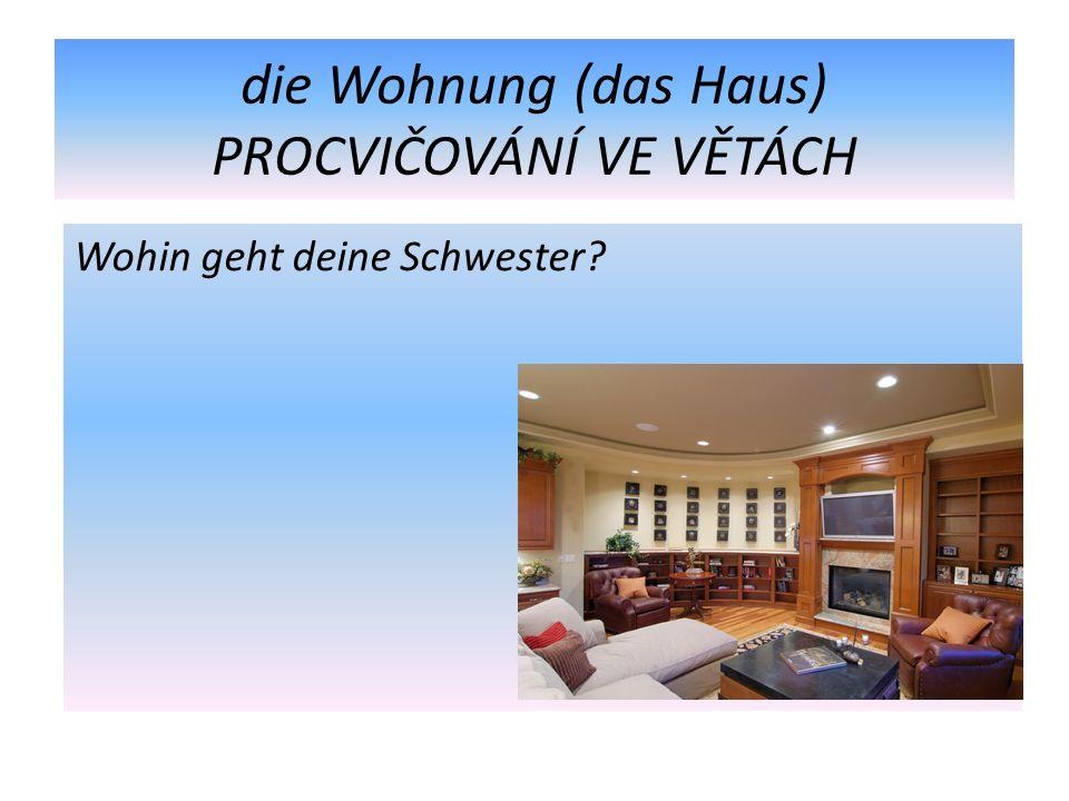 die Wohnung (das Haus) PROCVIČOVÁNÍ VE VĚTÁCH Wohin geht deine Schwester