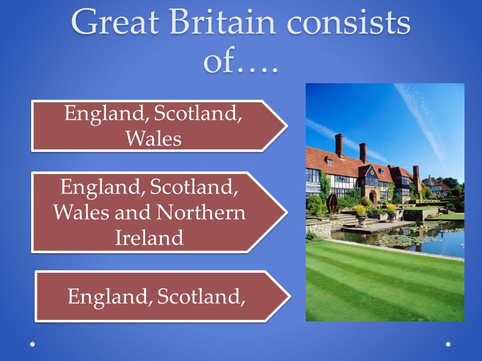 Great Britain consists of….