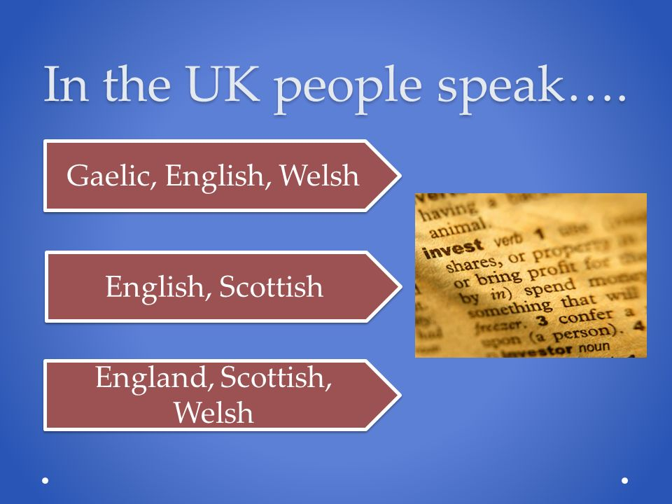 In the UK people speak…. Gaelic, English, Welsh English, Scottish England, Scottish, Welsh