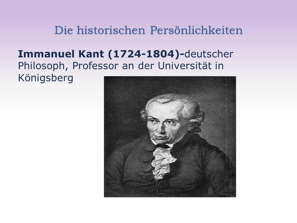 Die historischen Persönlichkeiten Immanuel Kant (1724-1804)-deutscher Philosoph, Professor an der Universität in Königsberg