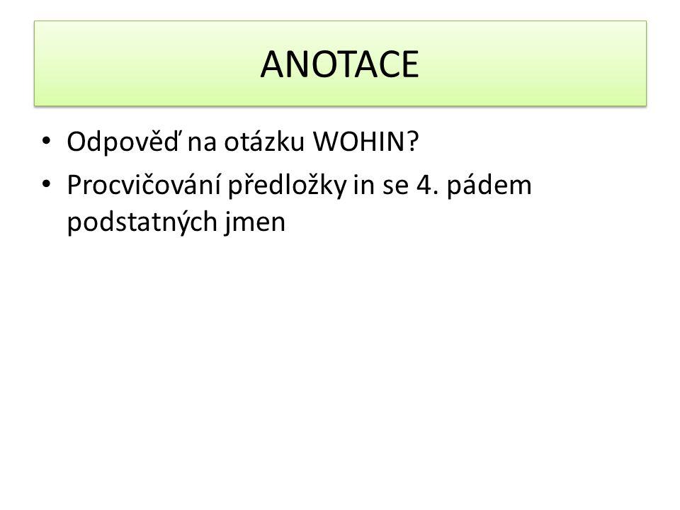 ANOTACE Odpověď na otázku WOHIN Procvičování předložky in se 4. pádem podstatných jmen