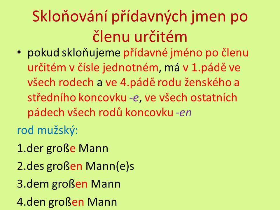 Skloňování přídavných jmen po členu určitém pokud skloňujeme přídavné jméno po členu určitém v čísle jednotném, má v 1.pádě ve všech rodech a ve 4.pádě rodu ženského a středního koncovku -e, ve všech ostatních pádech všech rodů koncovku -en rod mužský: 1.der große Mann 2.des großen Mann(e)s 3.dem großen Mann 4.den großen Mann