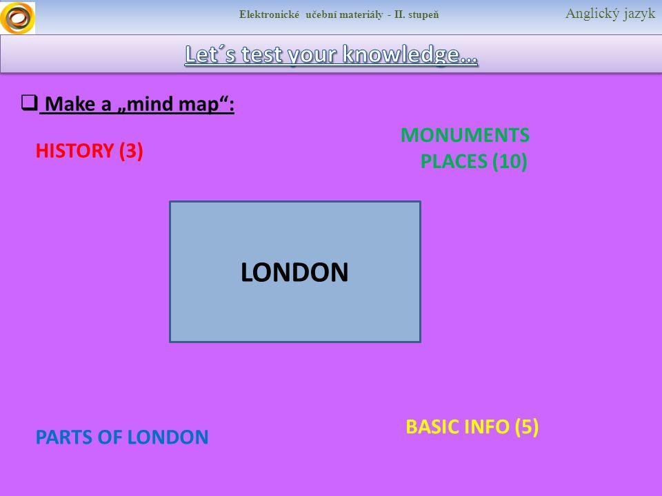 """Elektronické učební materiály - II. stupeň Anglický jazyk  Make a """"mind map"""": LONDON HISTORY (3) PARTS OF LONDON MONUMENTS PLACES (10) BASIC INFO (5)"""