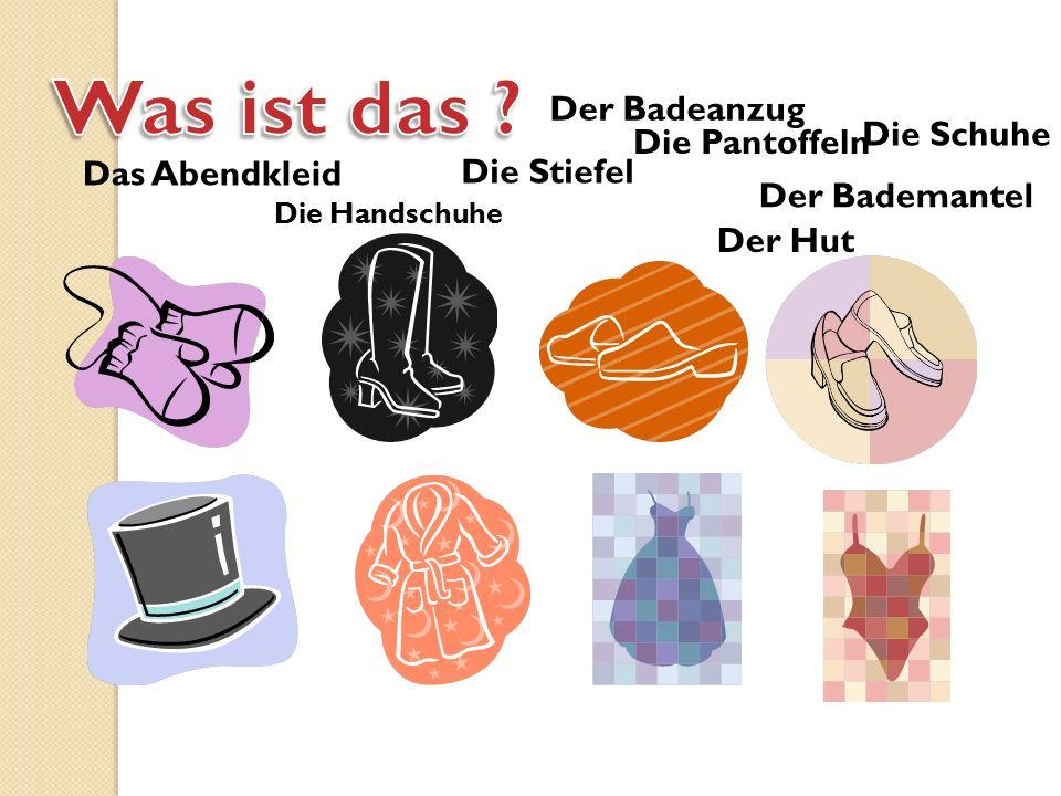 Die Pantoffeln Die Handschuhe Der Hut Das Abendkleid Die Stiefel Der Bademantel Der Badeanzug Die Schuhe