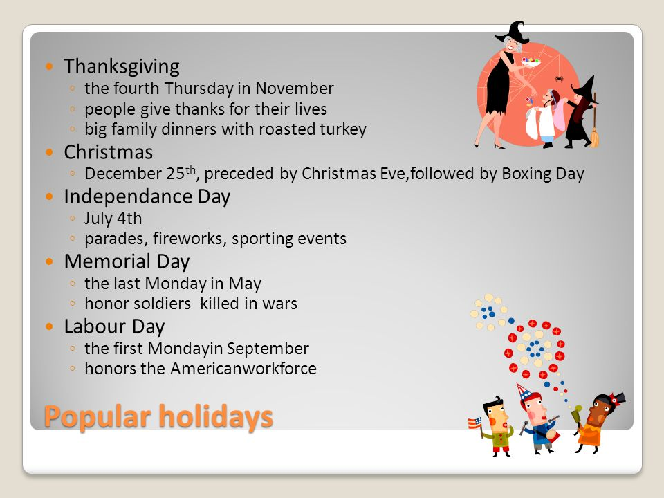 Popular holidays Thanksgiving ◦ the fourth Thursday in November ◦ people give thanks for their lives ◦ big family dinners with roasted turkey Christmas ◦ December 25 th, preceded by Christmas Eve,followed by Boxing Day Independance Day ◦ July 4th ◦ parades, fireworks, sporting events Memorial Day ◦ the last Monday in May ◦ honor soldiers killed in wars Labour Day ◦ the first Mondayin September ◦ honors the Americanworkforce