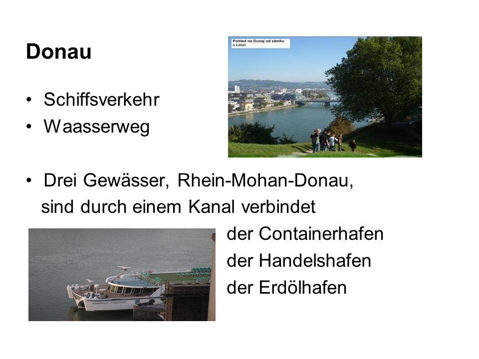 Donau Schiffsverkehr Waasserweg Drei Gewässer, Rhein-Mohan-Donau, sind durch einem Kanal verbindet der Containerhafen der Handelshafen der Erdölhafen