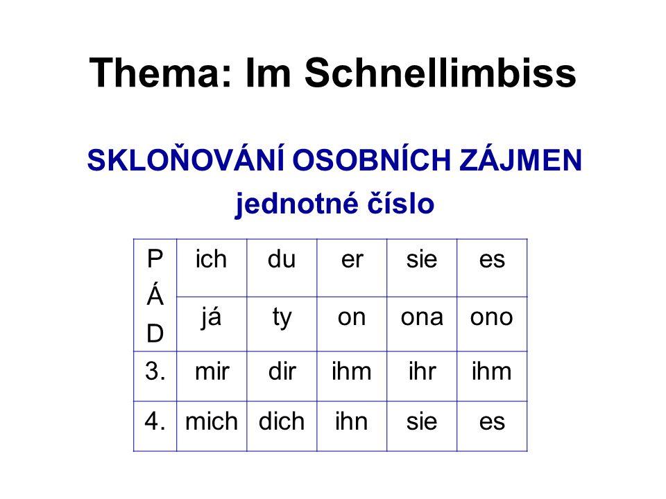 Thema: Im Schnellimbiss SKLOŇOVÁNÍ OSOBNÍCH ZÁJMEN jednotné číslo PÁDPÁD ichduersiees játyononaono 3.mirdirihmihrihm 4.michdichihnsiees
