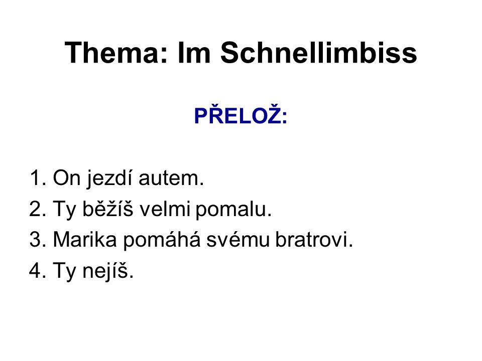 Thema: Im Schnellimbiss ZÁPOR – KEIN - Popírá podstatné jméno.