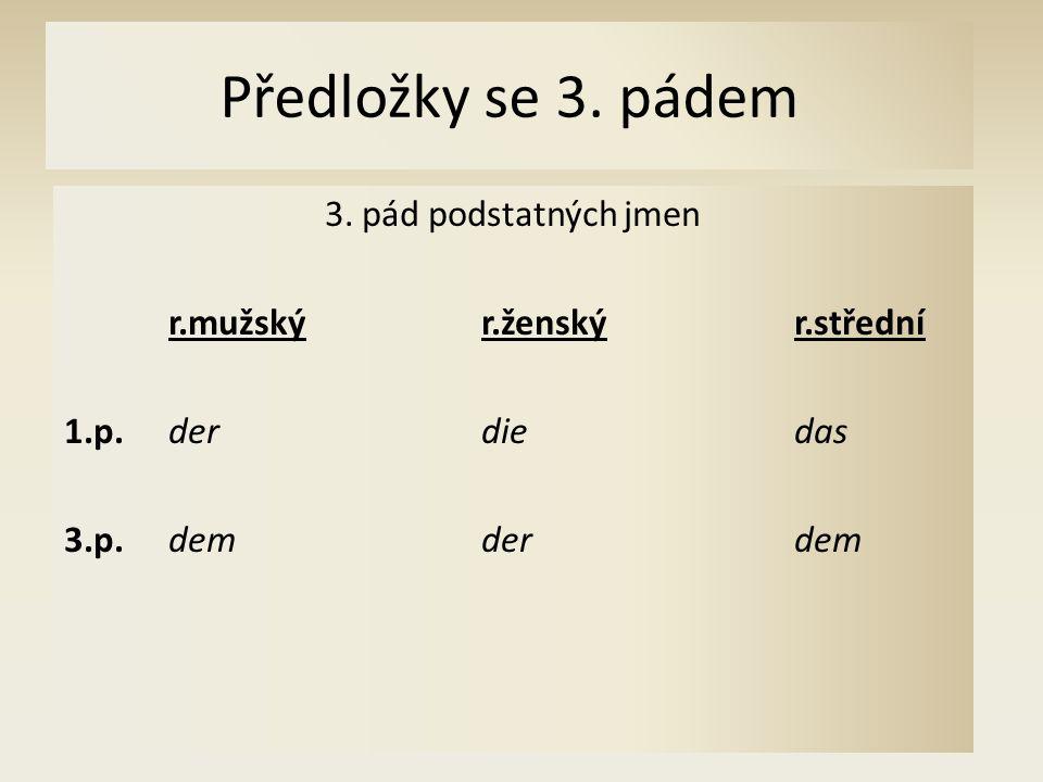 Předložky se 3. pádem 3. pád podstatných jmen r.mužskýr.ženskýr.střední 1.p.derdiedas 3.p.dem derdem