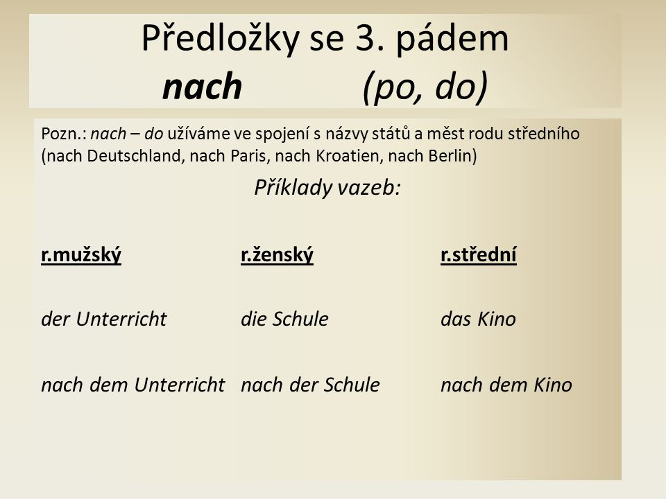 Předložky se 3. pádem nach(po, do) Pozn.: nach – do užíváme ve spojení s názvy států a měst rodu středního (nach Deutschland, nach Paris, nach Kroatie