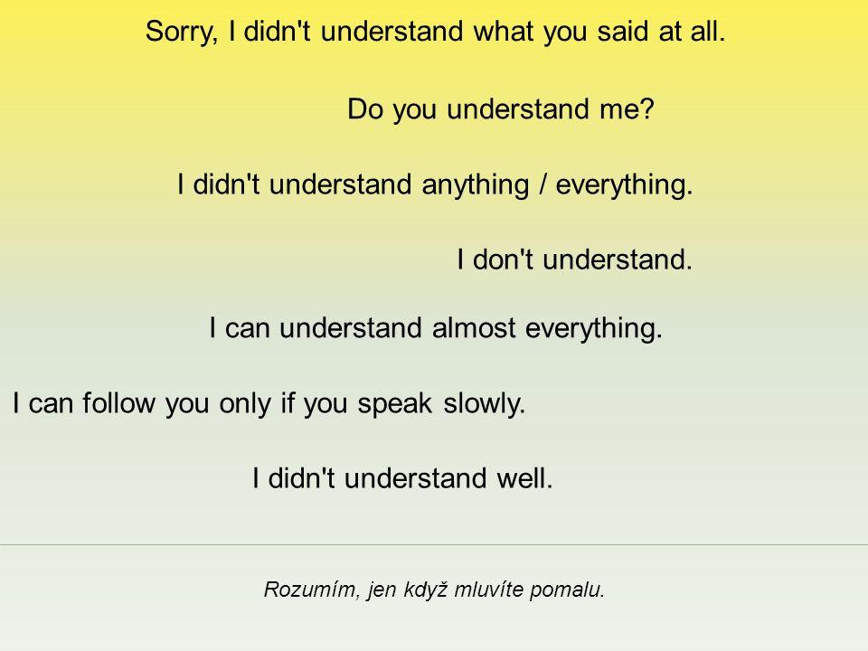 Sorry, I didn t understand what you said at all. Rozumím, jen když mluvíte pomalu.