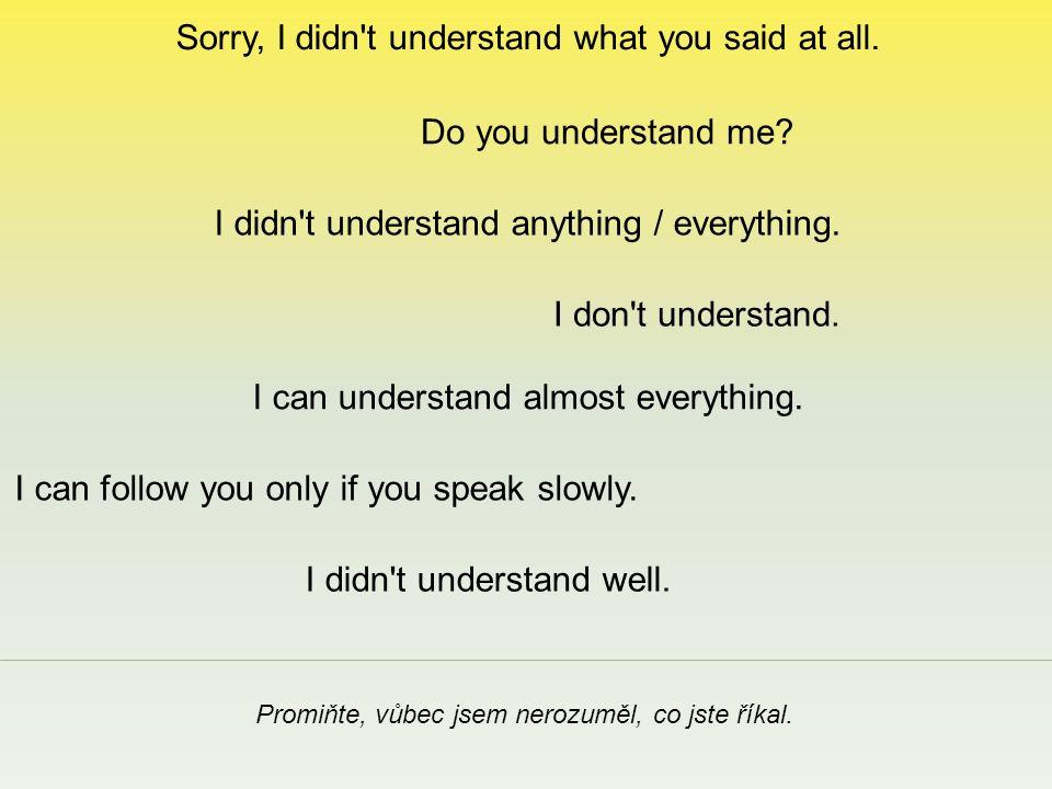Sorry, I didn t understand what you said at all. Promiňte, vůbec jsem nerozuměl, co jste říkal.