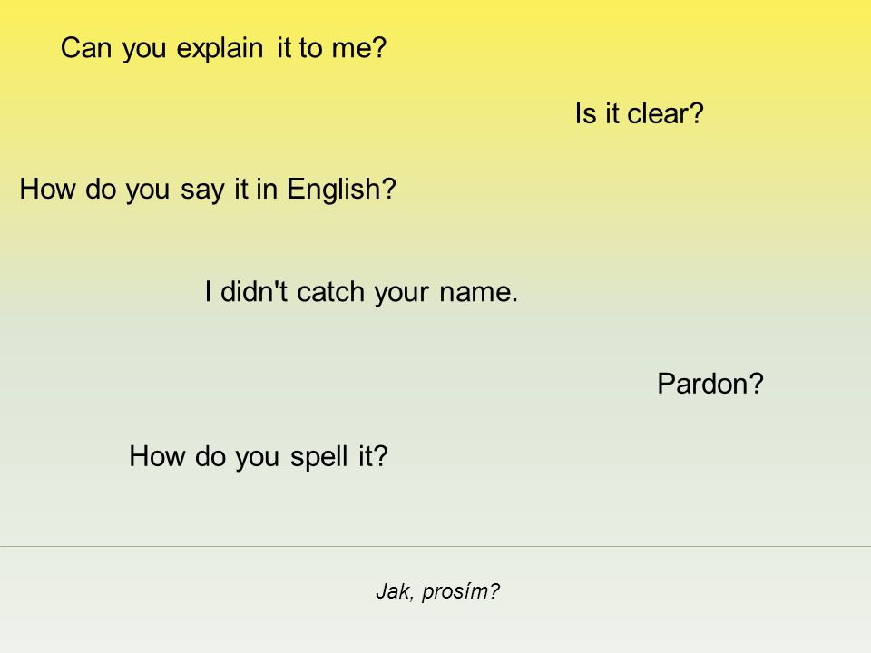 How do you say it in English. Jak, prosím. I didn t catch your name.