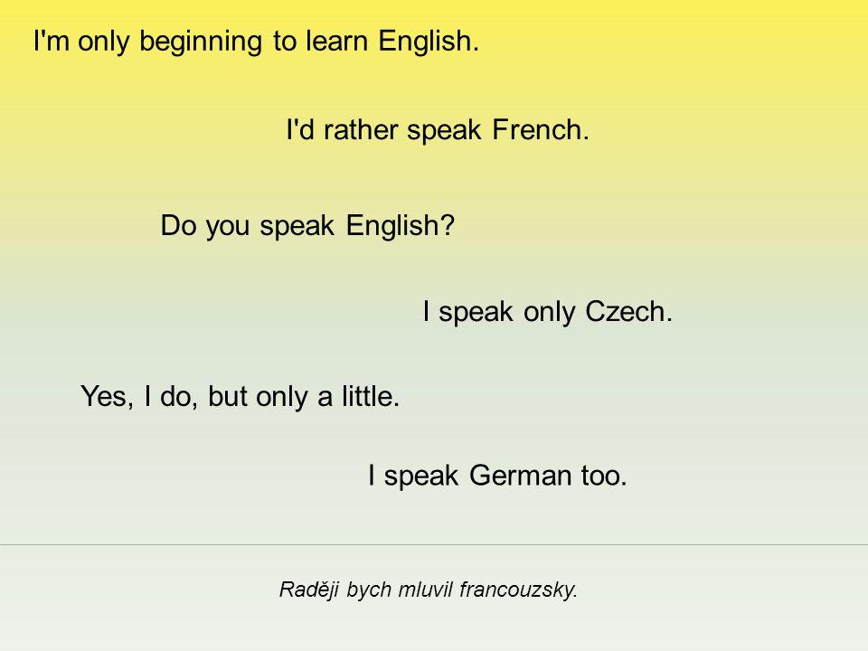 Teprve se začínám učit anglicky.I speak only Czech.
