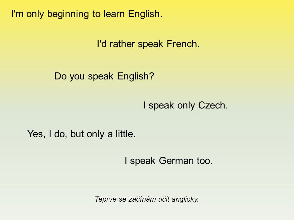 Teprve se začínám učit anglicky. I speak only Czech.