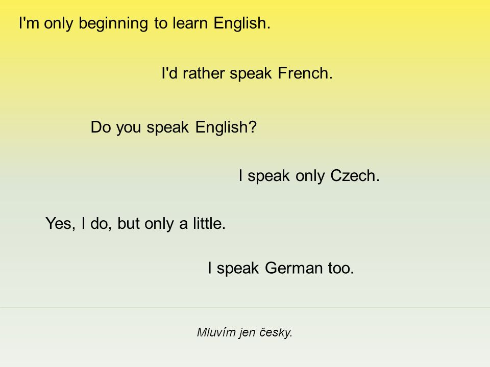Mluvím jen česky. I speak only Czech. I d rather speak French.