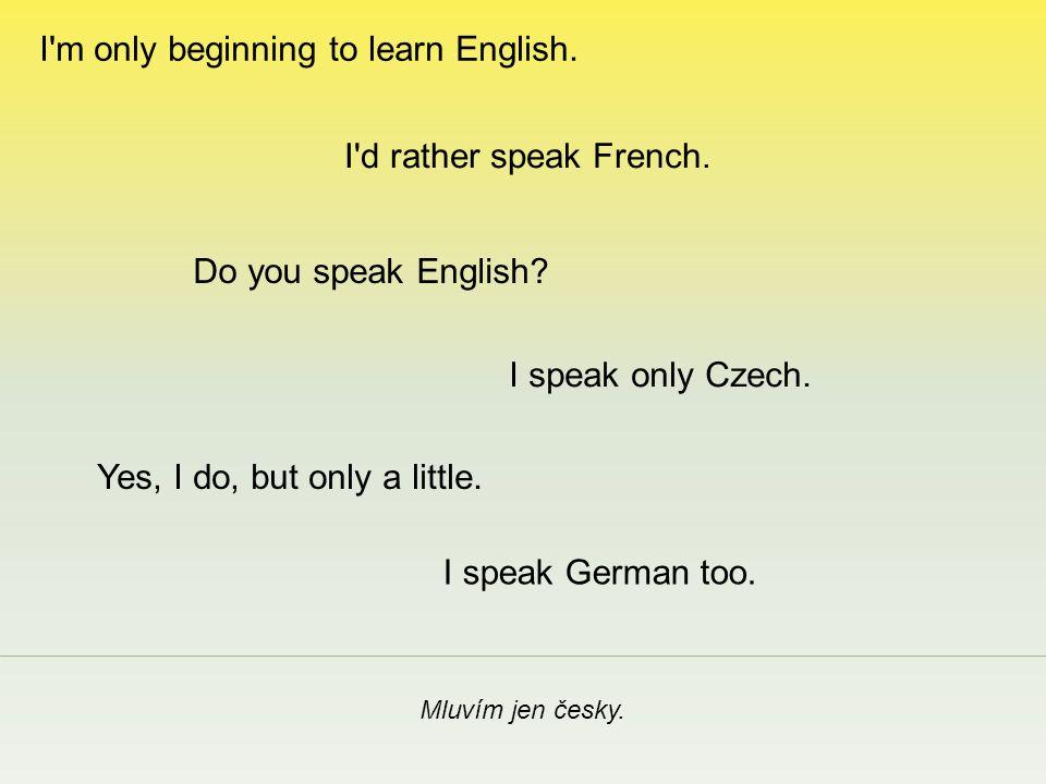 Mluvím také německy.I speak only Czech. I d rather speak French.