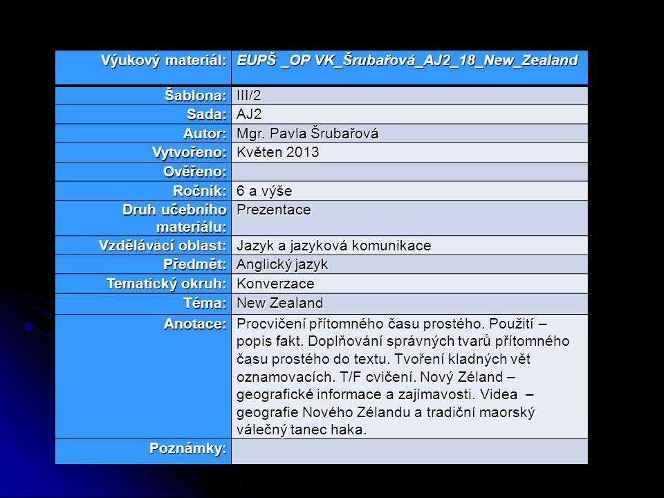 Výukový materiál: EUPŠ _OP VK_Šrubařová_AJ2_18_New_Zealand Šablona:III/2 Sada:AJ2 Autor: Mgr.