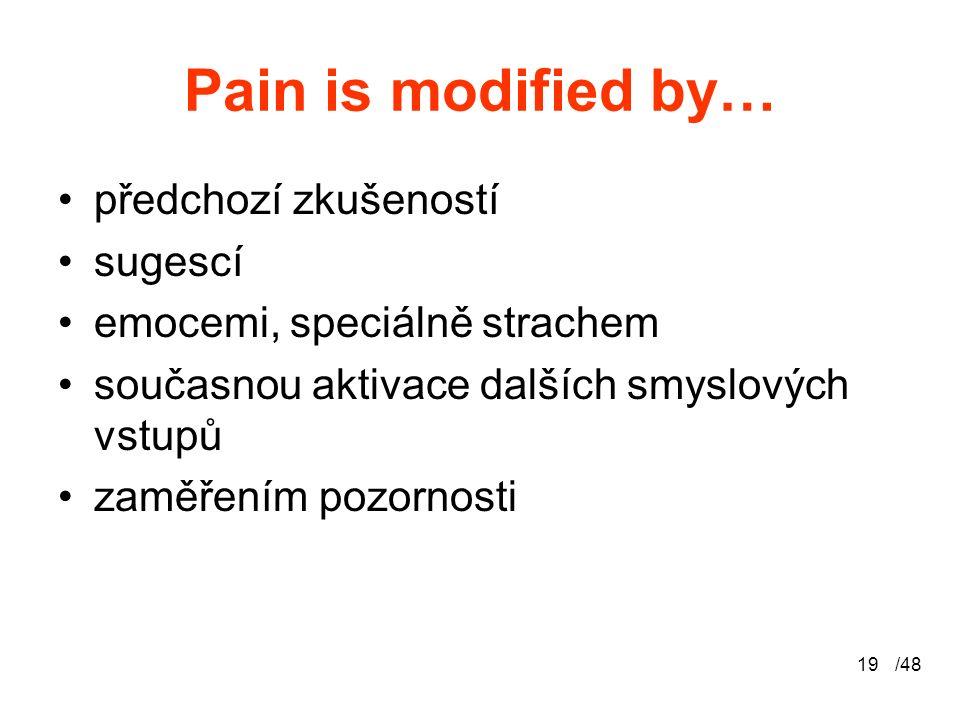 /4819 Pain is modified by… předchozí zkušeností sugescí emocemi, speciálně strachem současnou aktivace dalších smyslových vstupů zaměřením pozornosti