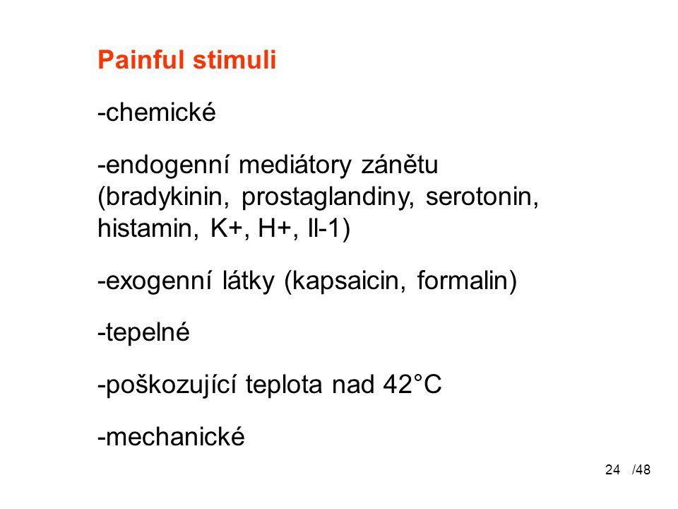 /4824 Painful stimuli -chemické -endogenní mediátory zánětu (bradykinin, prostaglandiny, serotonin, histamin, K+, H+, Il-1) -exogenní látky (kapsaicin, formalin) -tepelné -poškozující teplota nad 42°C -mechanické
