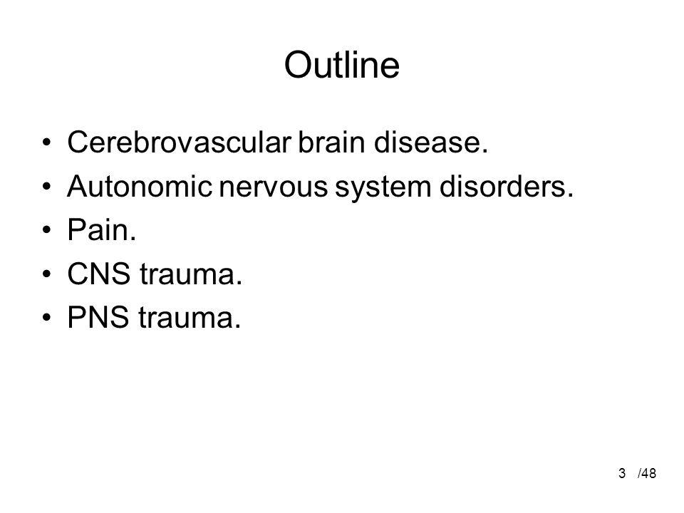 3 Outline Cerebrovascular brain disease. Autonomic nervous system disorders.
