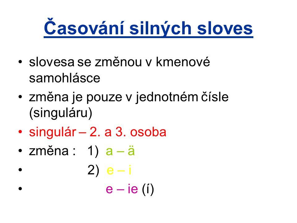 Časování silných sloves slovesa se změnou v kmenové samohlásce změna je pouze v jednotném čísle (singuláru) singulár – 2. a 3. osoba změna : 1) a – ä
