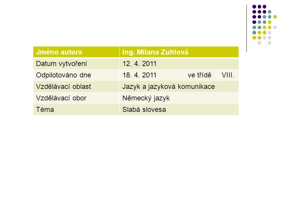 Jméno autoraIng. Milana Zuhlová Datum vytvoření12. 4. 2011 Odpilotováno dne18. 4. 2011ve tříděVIII. Vzdělávací oblastJazyk a jazyková komunikace Vzděl