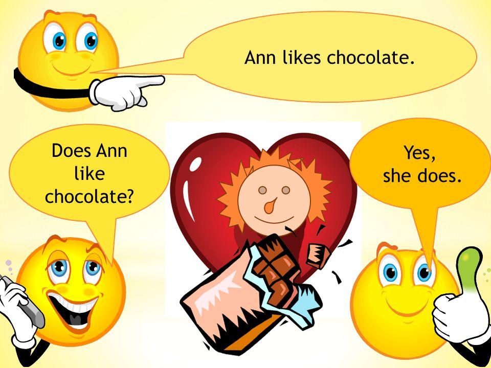Tom doesn´t like chocolate. Does Tom like chocolate? No, he doesn´t.