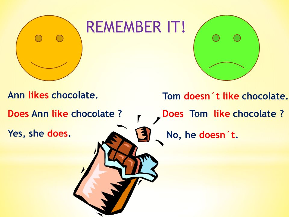 Ann likes chocolate.Tom doesn´t like chocolate. Does Ann like chocolate ?Does Tom like chocolate .