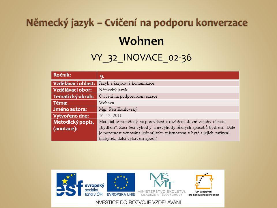 Wohnen VY_32_INOVACE_02-36 Ročník: 9.