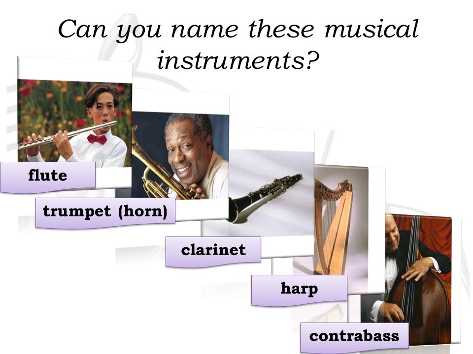 Can you name these musical instruments? guitar bass (guitar) piano violin drums