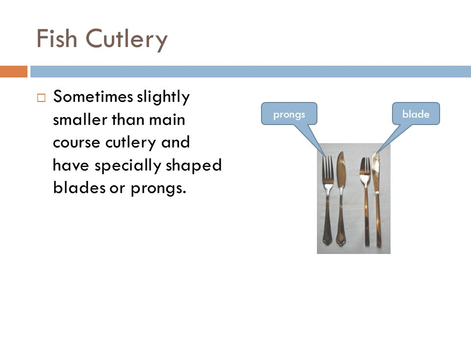 Main Course Cutlery  The largest of all the knives and forks with a straight shape.