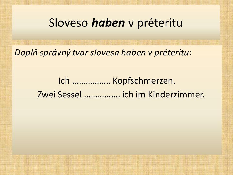 Sloveso haben v préteritu Doplň správný tvar slovesa haben v préteritu: Ich ……………..