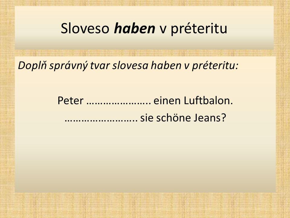 Sloveso haben v préteritu Doplň správný tvar slovesa haben v préteritu: Wir …………………..